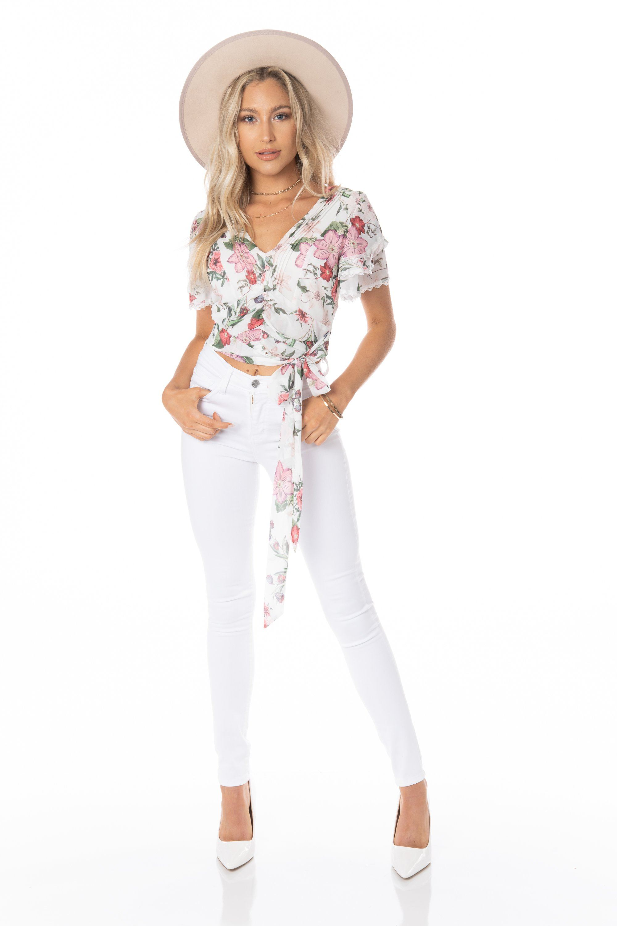 Flying Monkey White High Rise Skinny Jeans Denim HYPEACH BOUTIQUE
