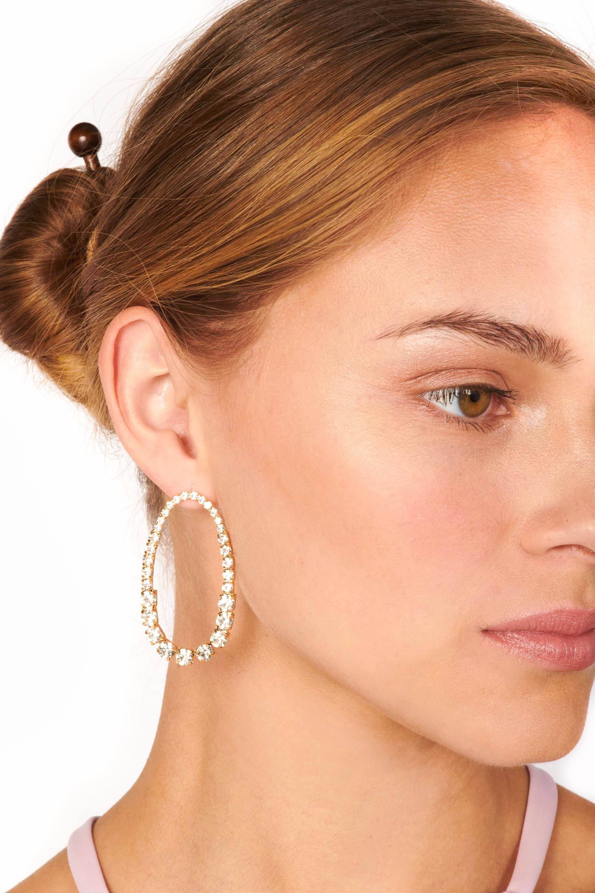 Gold and Crystal Oval Drop Earrings Accessories HYPEACH