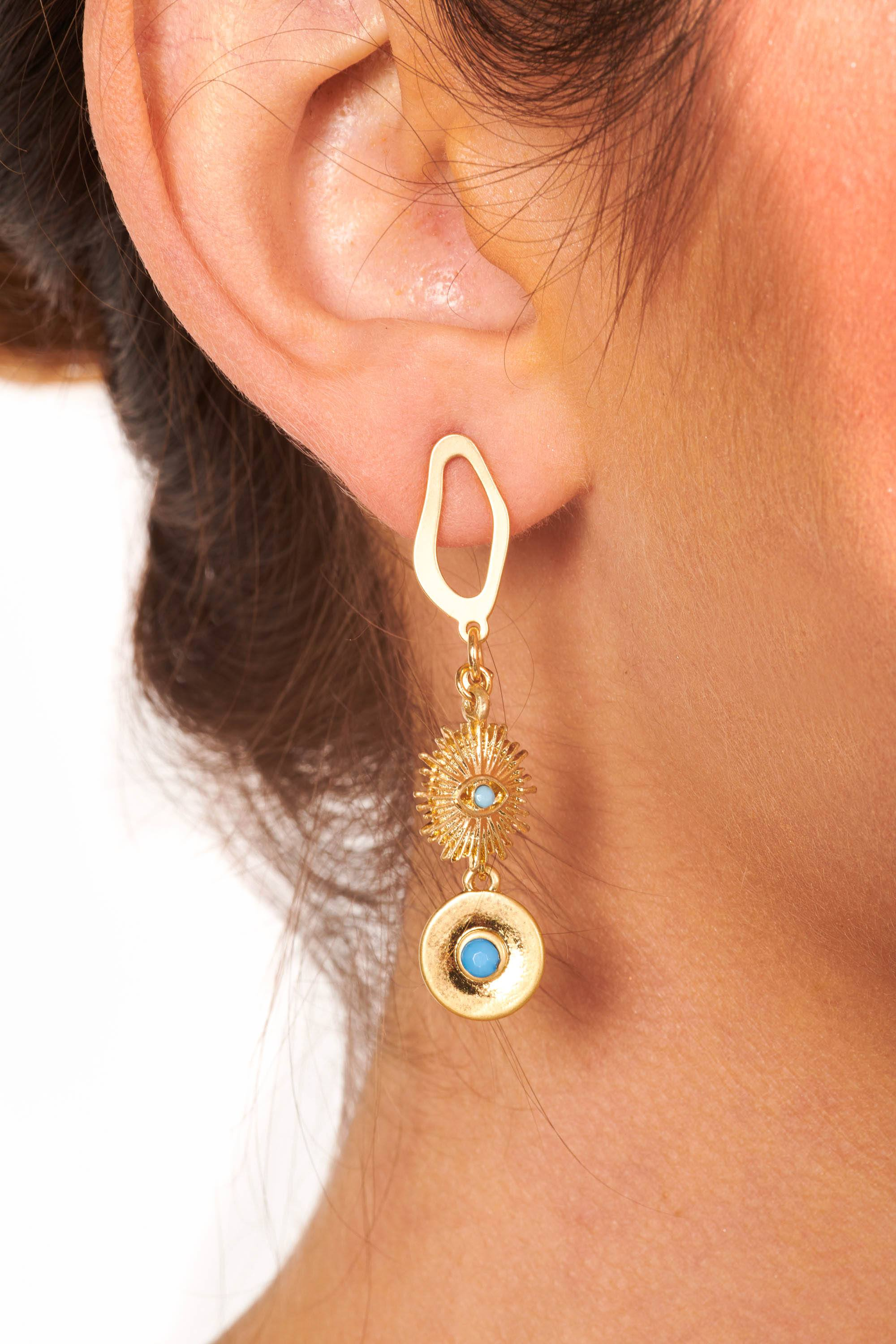 Gold and Turquoise Stone Detail Drop Earrings Accessories HYPEACH