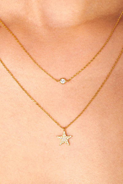 Gold Dipped Cubic Zirconia Star Charm Necklace Accessories HYPEACH