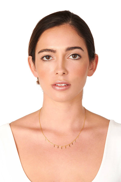 Gold Dipped Rectangle Charm Necklace Accessories HYPEACH