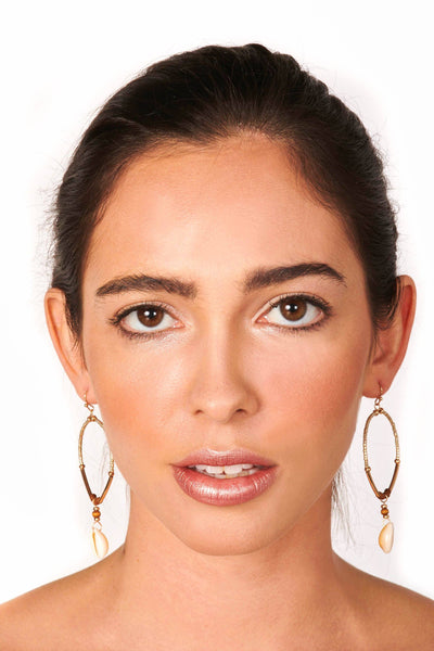 Gold Drop Beaded and Shell Hoop Earrings Accessories HYPEACH