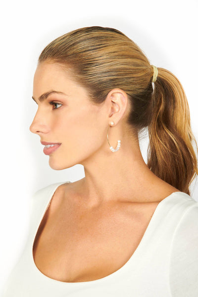 Gold Hoop Earrings with Pearls Accessories HYPEACH BOUTIQUE