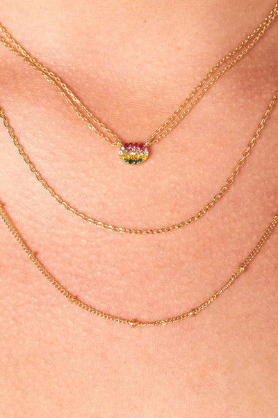 Gold Layered Necklace with Rainbow Charm Accessories HYPEACH
