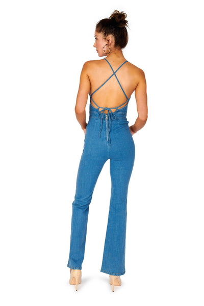 Hello Spring Denim Open Back Jumpsuit Rompers & Jumpers HYPEACH BOUTIQUE