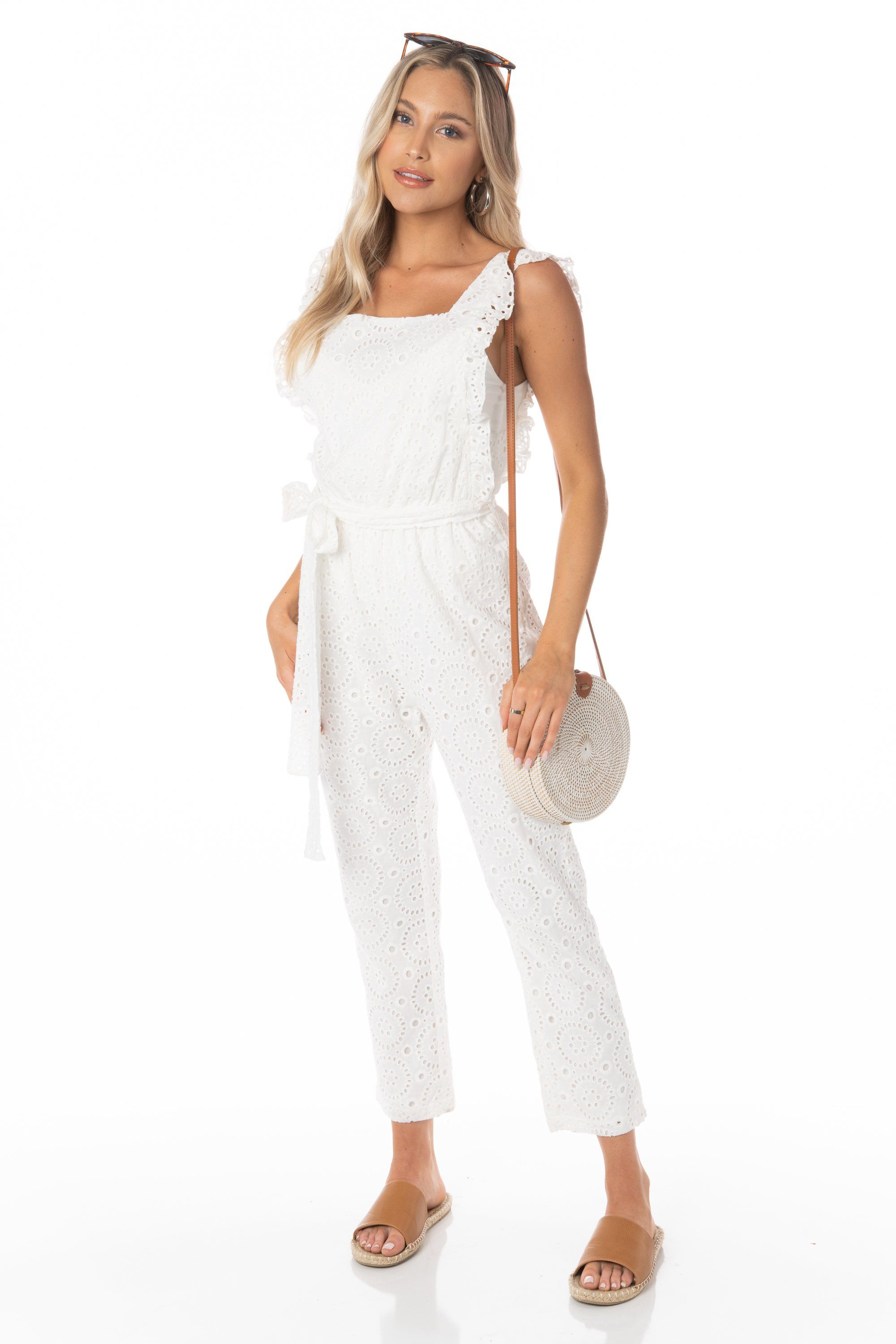 Hello Sunshine Eyelet White Jumpsuit - FINAL SALE Rompers & Jumpers HYPEACH BOUTIQUE