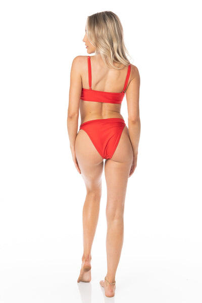 High Waist Cheeky Coverage Red Bikini Bottoms Swimwear HYPEACH BOUTIQUE