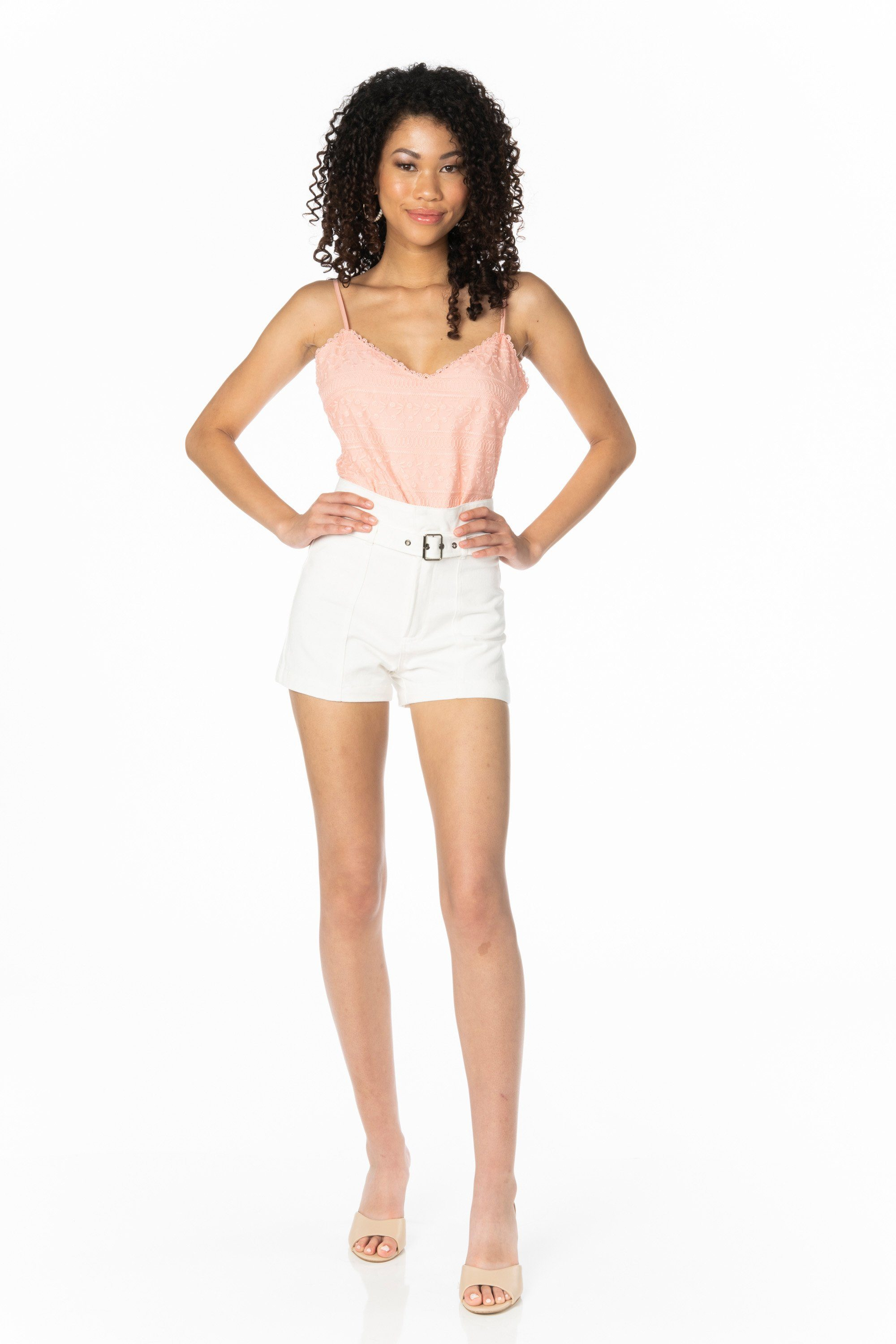 High Waist Ivory Denim Shorts Denim HYPEACH BOUTIQUE