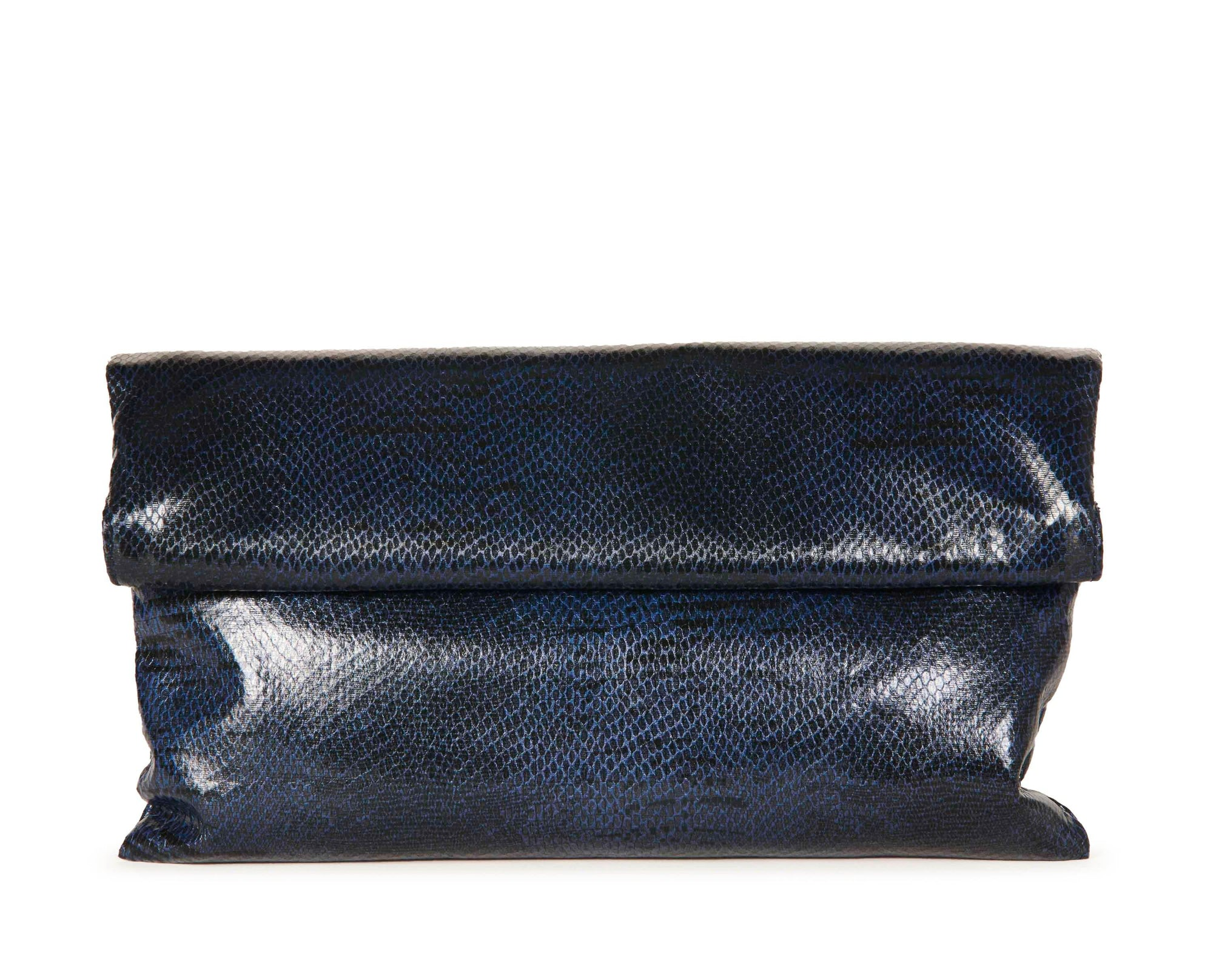 Hypeach Navy Snakeskin Clutch Accessories HYPEACH BOUTIQUE