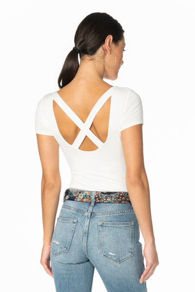 Ivory Double Layered X Back Bodysuit Tops HYPEACH BOUTIQUE