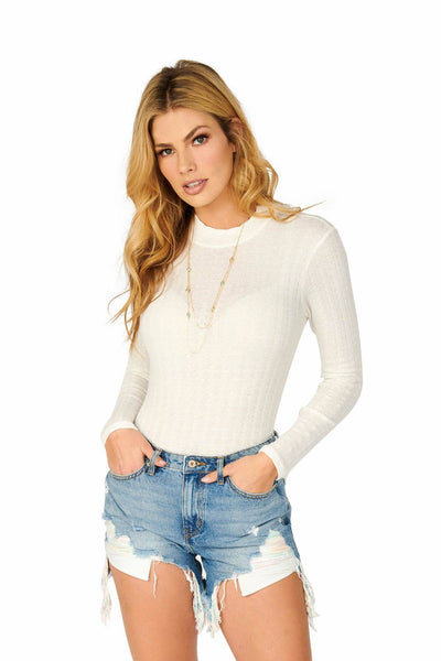 Ivory Variegated Ribbed Mock Neck Long Sleeve Bodysuit Tops HYPEACH BOUTIQUE