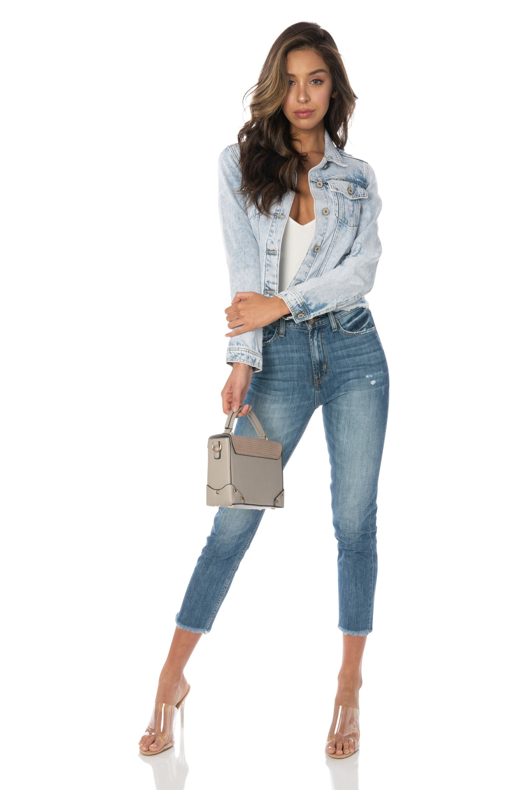Kancan - Denim Jacket Light Wash with Frayed Hem Outerwear HYPEACH BOUTIQUE