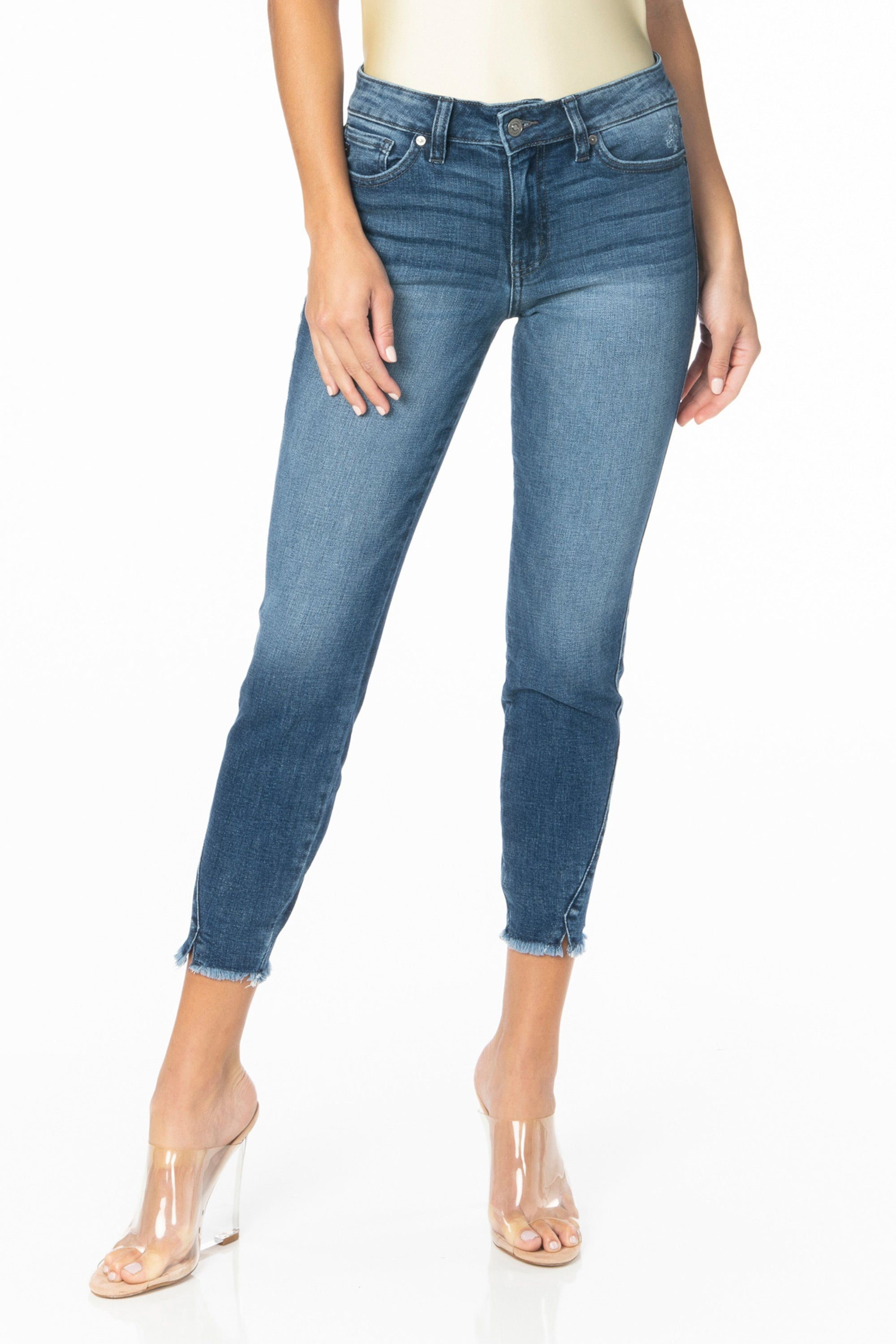 Kancan Denim - Medium Wash Mid Rise Ankle Skinny Jeans Denim Kancan