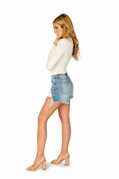 Kancan High Rise Boyfriend Denim Shorts Distressed Denim HYPEACH BOUTIQUE