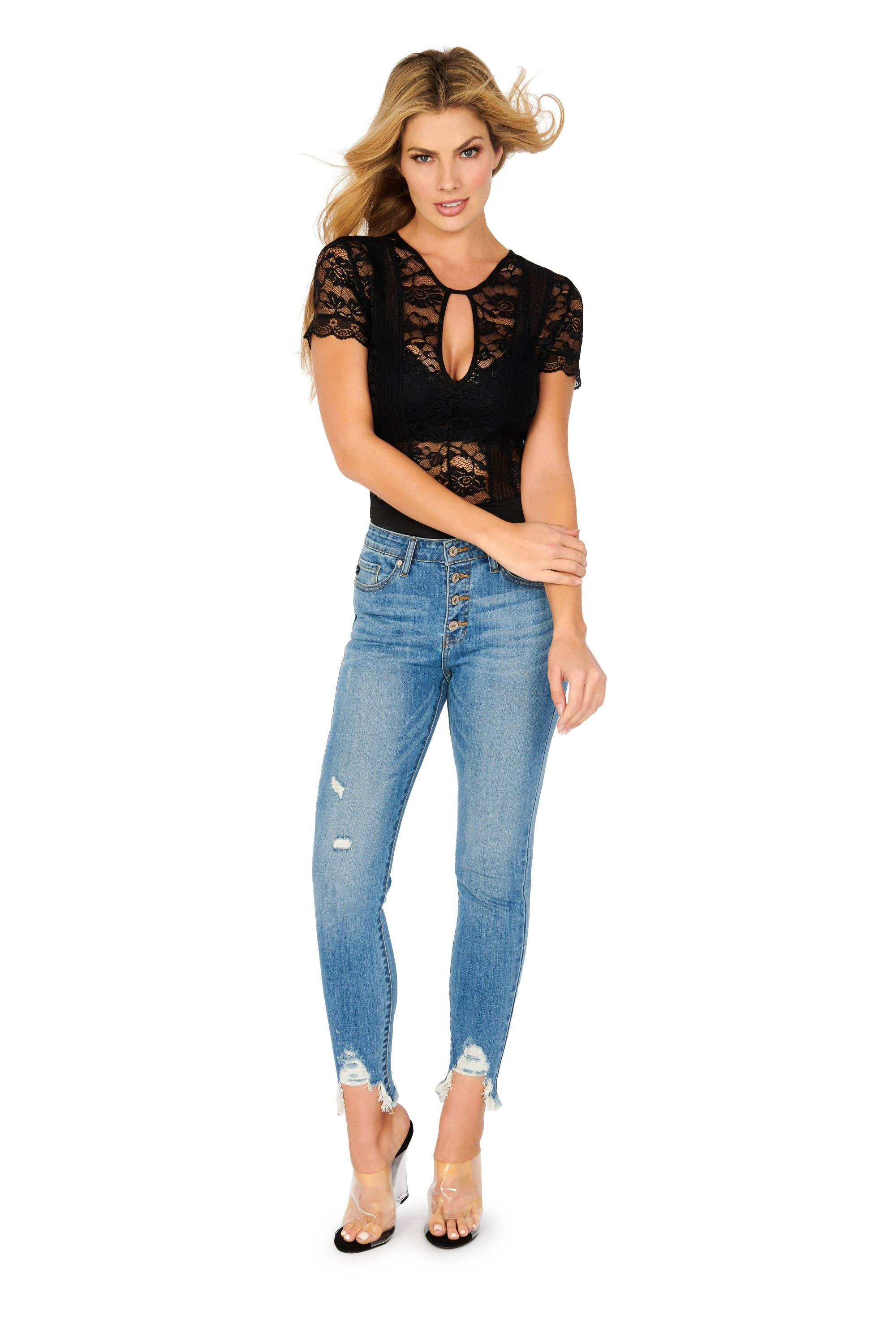 Kancan High Rise Medium Wash Distressed Ankles Skinny Jeans Denim HYPEACH BOUTIQUE