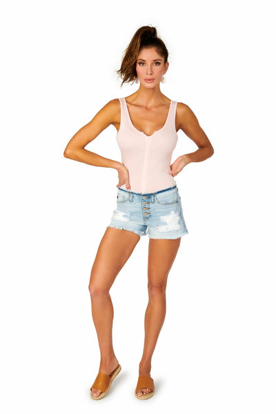 Kancan Low Rise Denim Shorts Distressed Denim HYPEACH BOUTIQUE