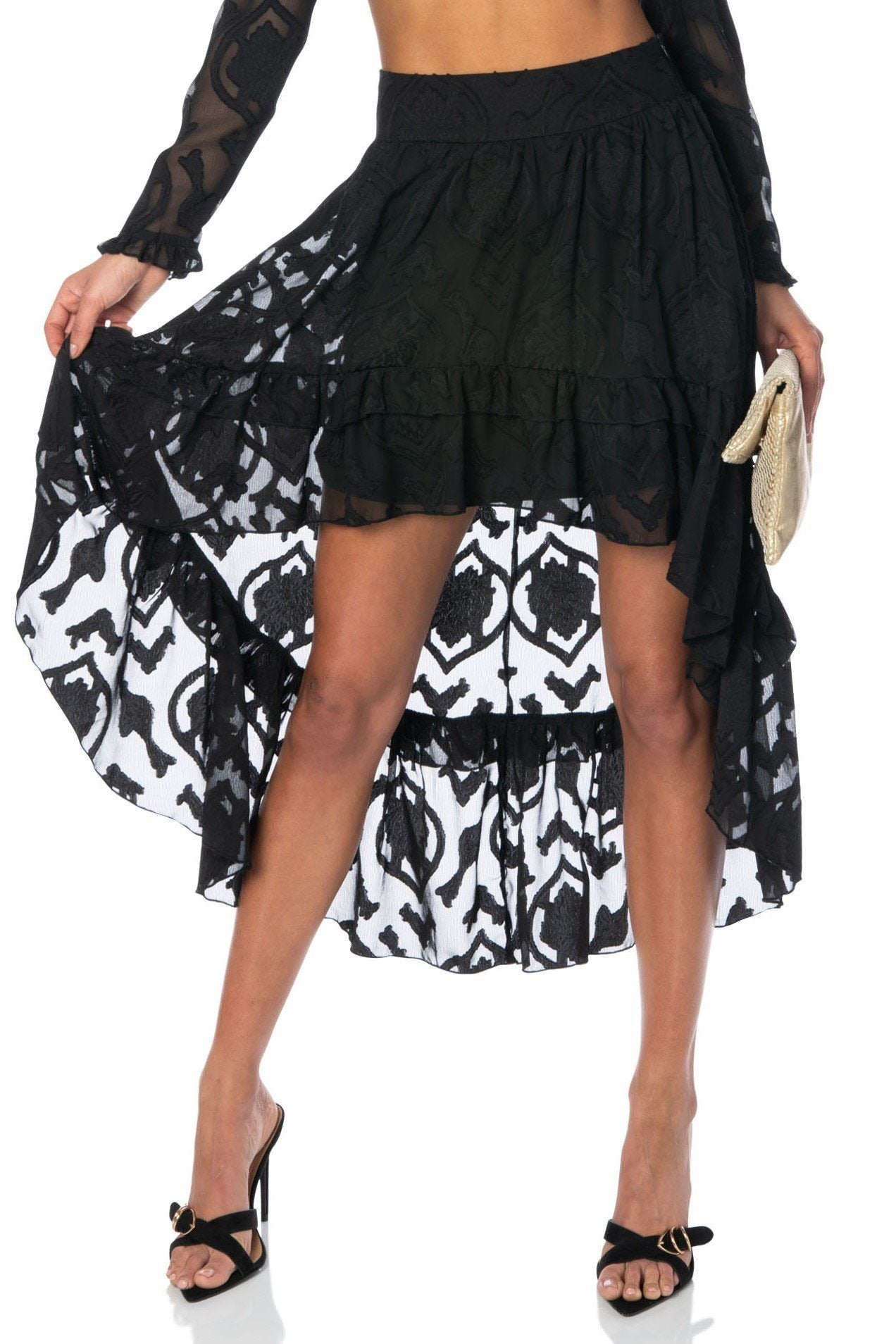 La Jolla Nights Black High-Low Skirt Bottoms HYPEACH BOUTIQUE