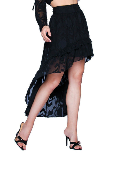 La Jolla Nights High-Low Black Skirt Sets HYPEACH BOUTIQUE