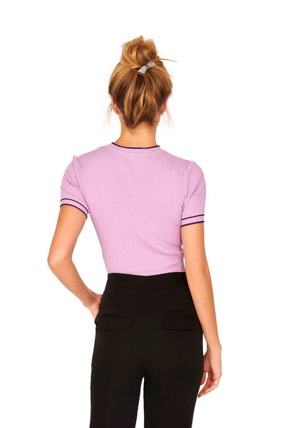 Lavender Short Sleeve Ribbed Crew Neck Contrast Knit Sweater Tops HYPEACH BOUTIQUE