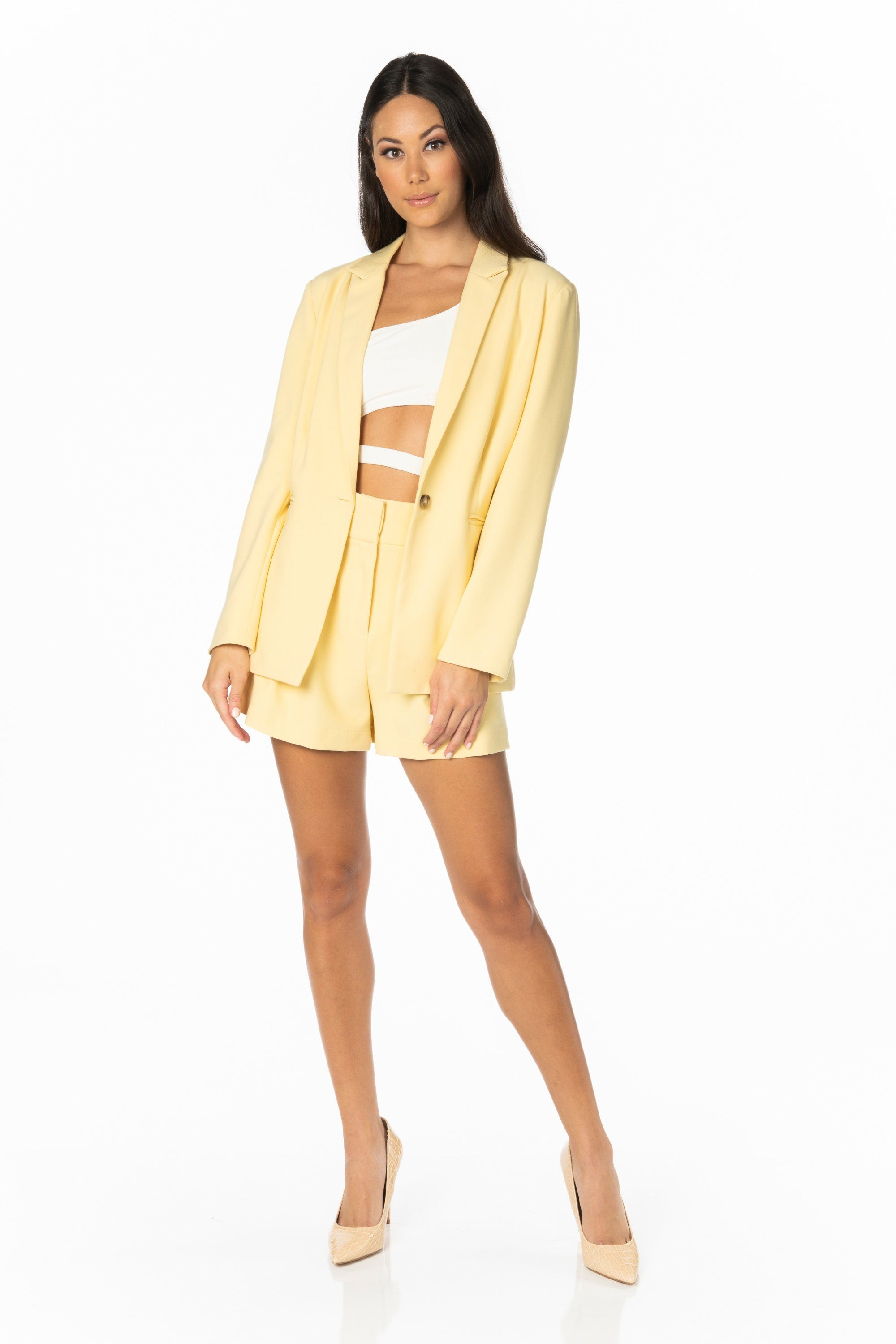 Lemon Zest Yellow Blazer Sets HYPEACH BOUTIQUE