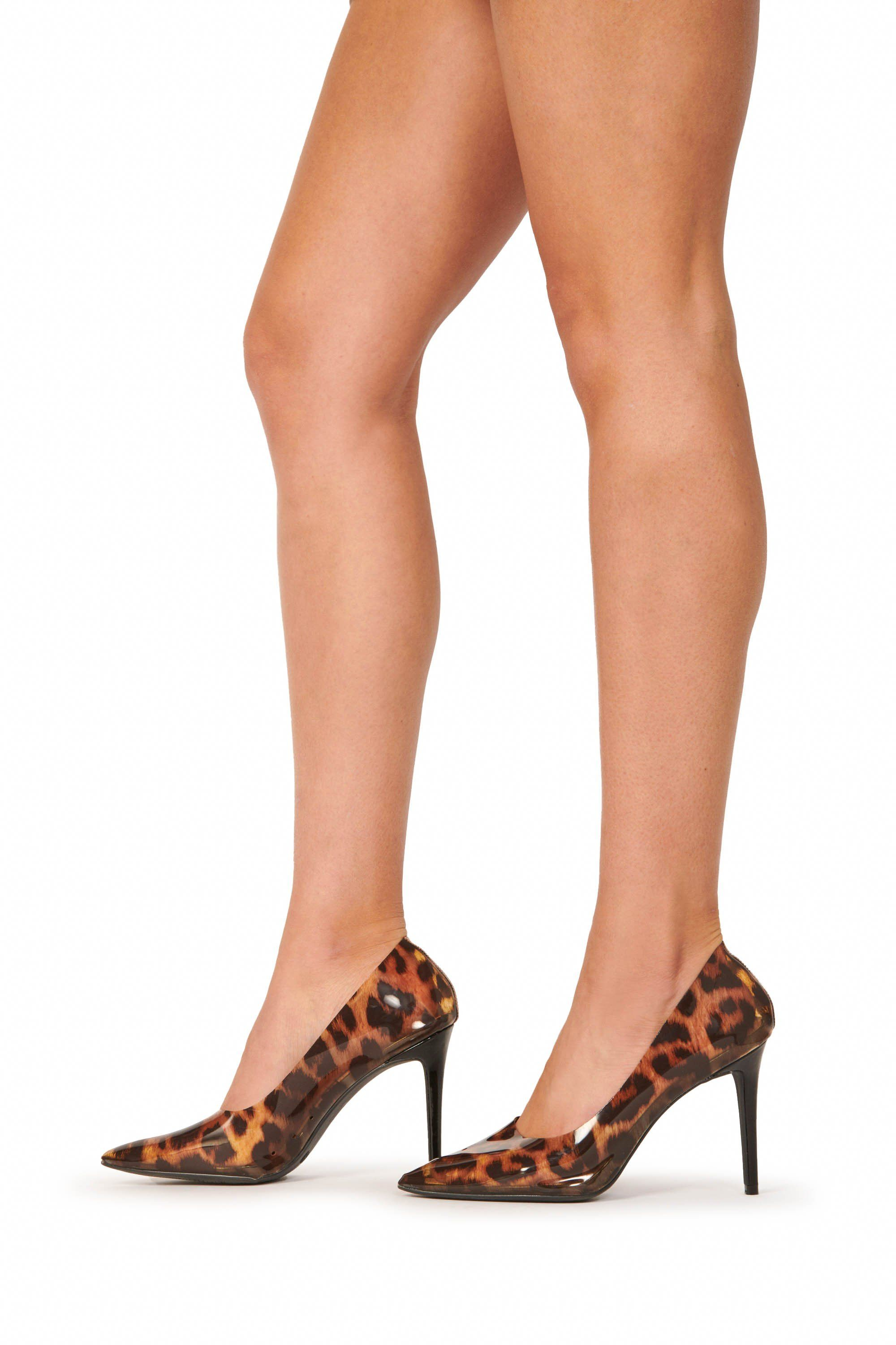 Leopard PVC Pointed Toe Pumps Shoes HYPEACH BOUTIQUE