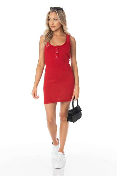 Lipstick Red Knit Mini Dress - FINAL SALE Dresses HYPEACH BOUTIQUE