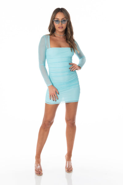 Long Sleeve Aqua Mesh Bodycon Mini Dress Dresses HYPEACH BOUTIQUE