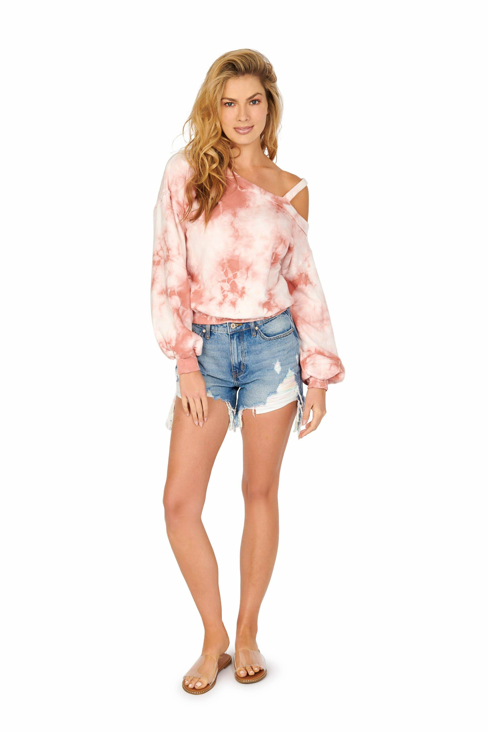 Long Sleeve Tie-Dye One Shoulder Sweatshirt Pink Tops HYPEACH BOUTIQUE