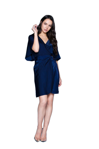 Malibu Navy Wrap Dress Dresses HYPEACH BOUTIQUE