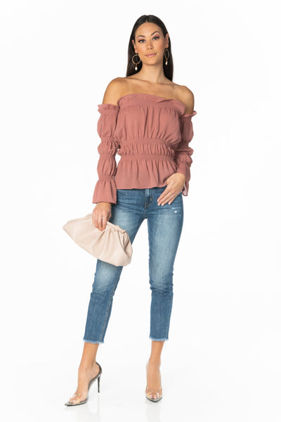 Mauve Over Long Sleeve Off the Shoulder Blouse Tops HYPEACH BOUTIQUE