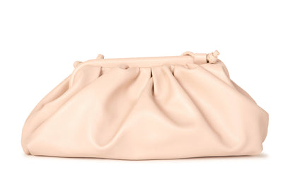 Melie Bianco Nude Vegan Leather Gathered Pouch Accessories HYPEACH