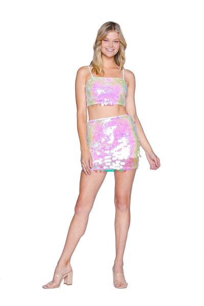 Mermaid Sequin Peach Mini Skirt Sets HYPEACH BOUTIQUE