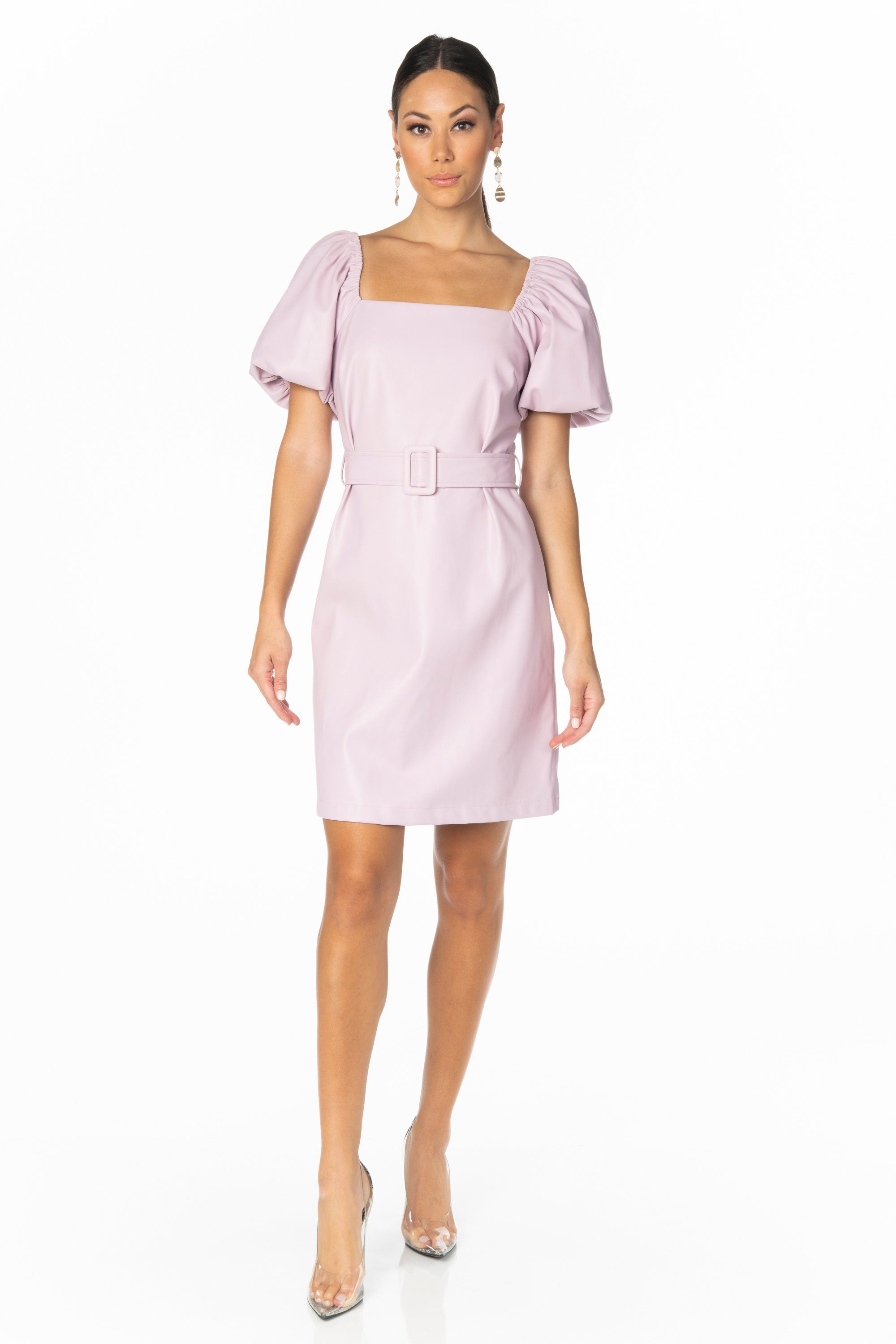 Mila Lavender Faux Leather Dress Dresses HYPEACH BOUTIQUE