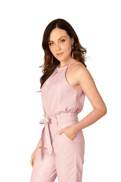 Mila Purple Faux Leather Halter Top Sets HYPEACH BOUTIQUE