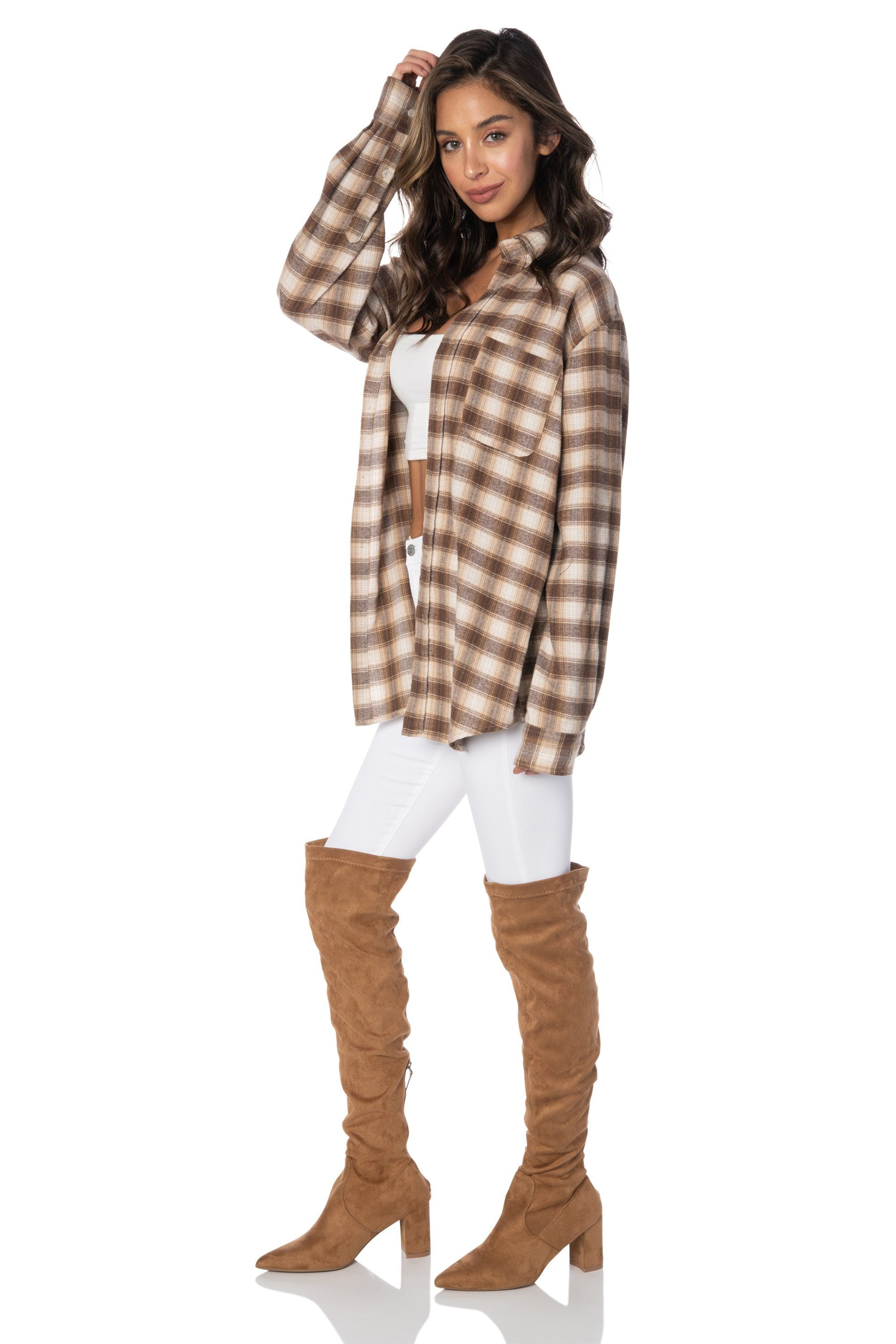 Mulholland Oversized Flannel Tops HYPEACH