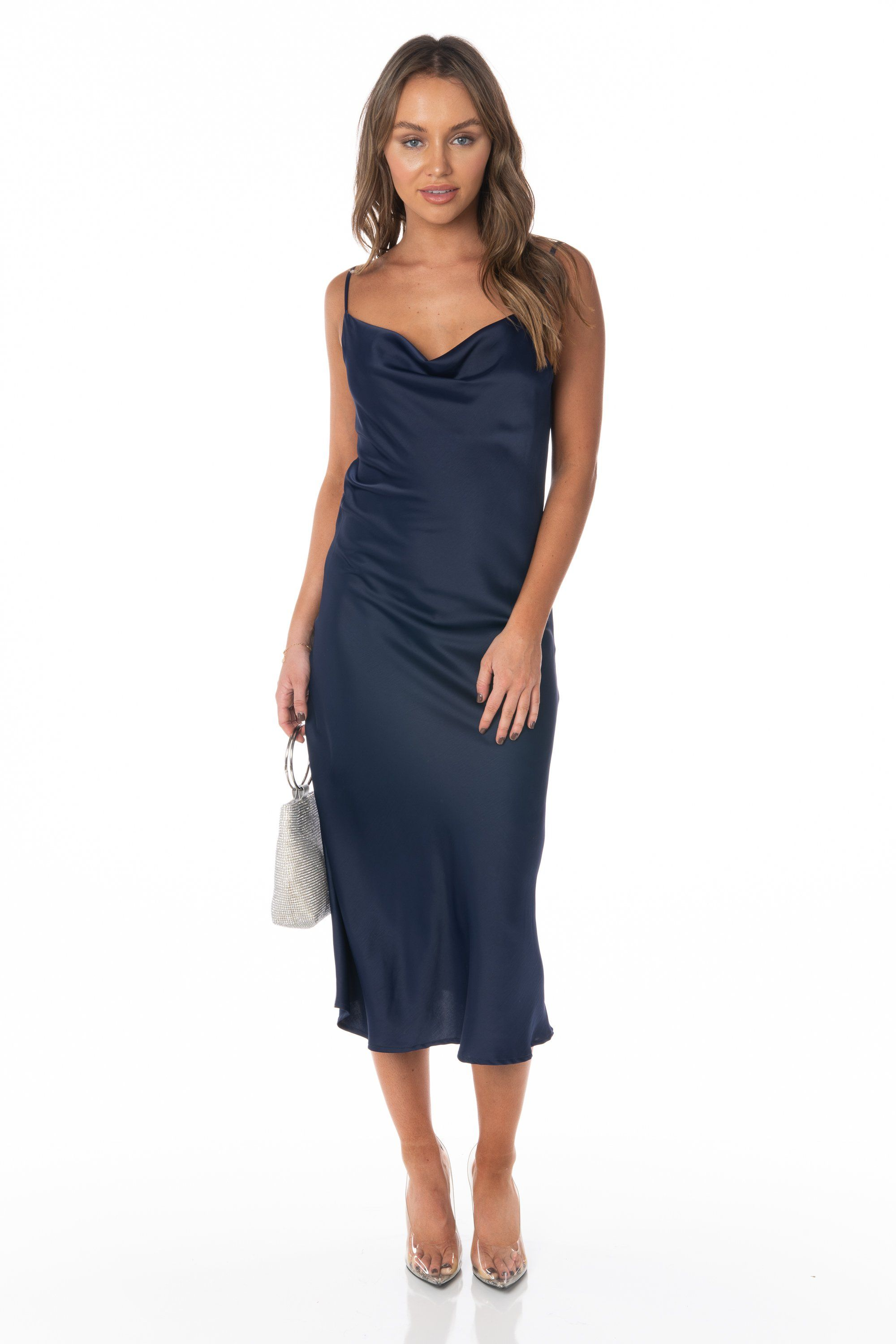 Navy Satin Midi Slip Dress Dresses HYPEACH BOUTIQUE