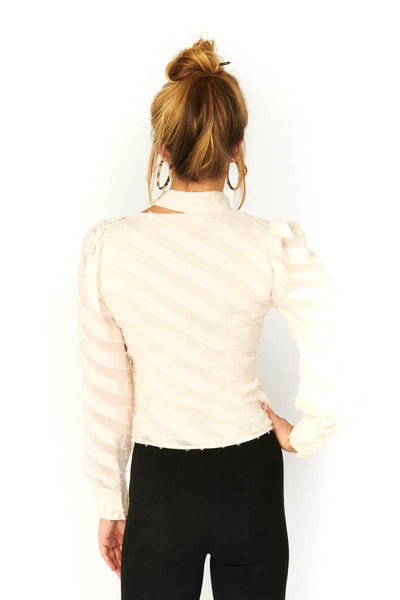 Nude Long Sleeve Asymmetical V Neck Cut Out Blouse Tops HYPEACH BOUTIQUE