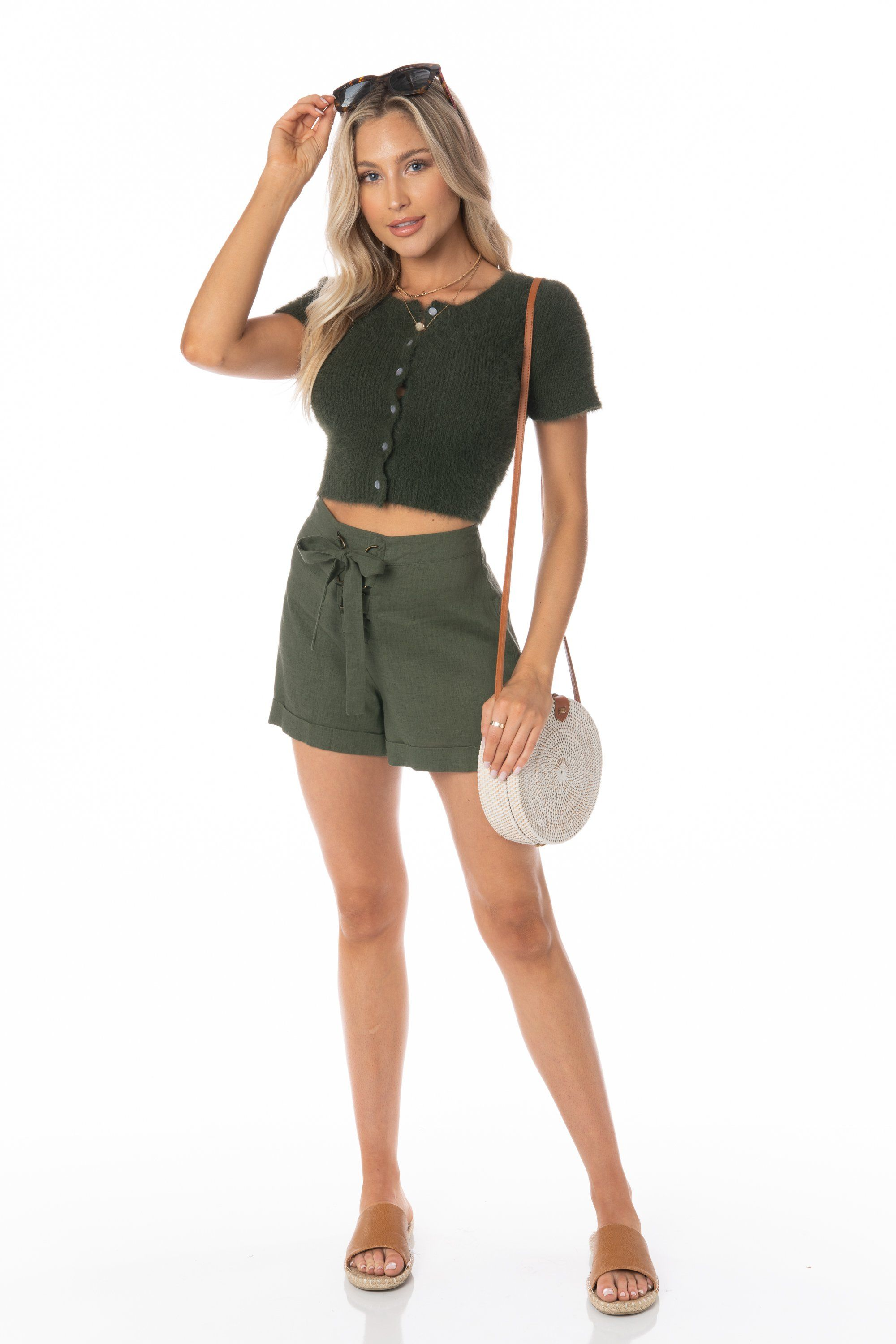 Olive Short Sleeve Cropped Eyelash Knit Sweater Tops HYPEACH BOUTIQUE