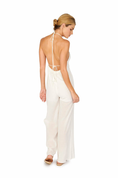 Open Back Halter Jumpsuit White Rompers & Jumpers HYPEACH BOUTIQUE