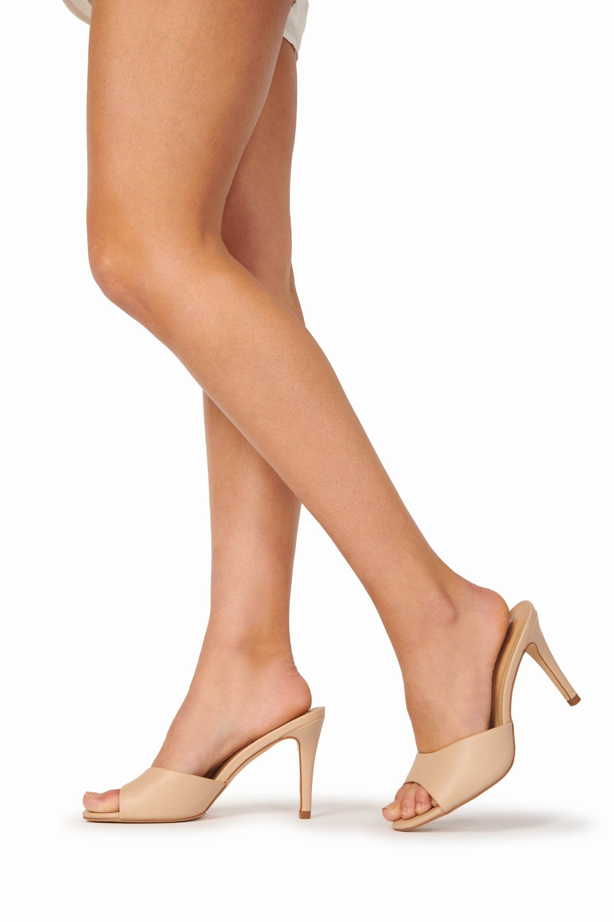 Open Toe Slide Heel Nude Shoes HYPEACH BOUTIQUE