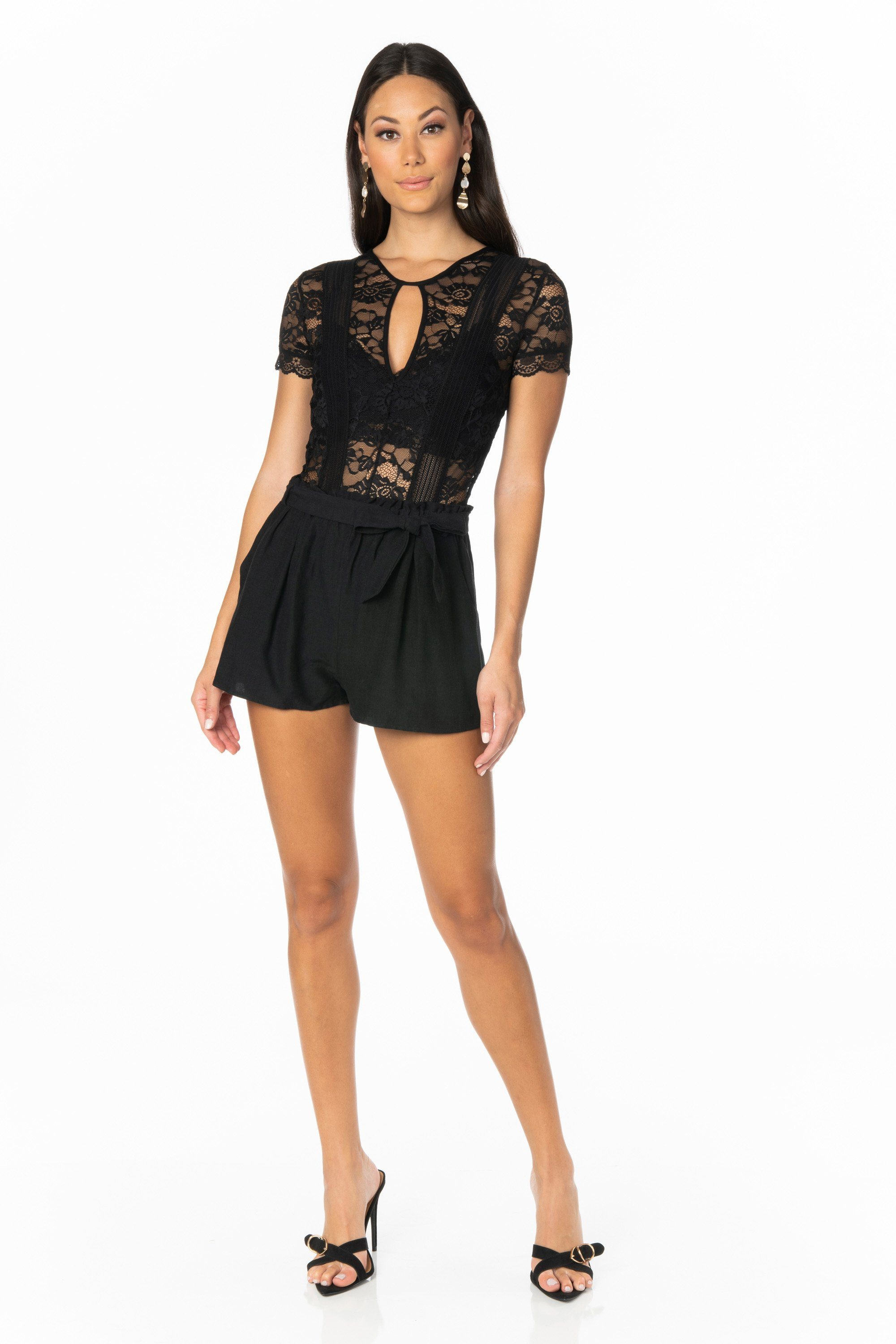 Paper Bag Waist Black Shorts Bottoms HYPEACH BOUTIQUE
