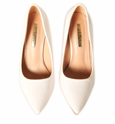 Patent Leather Pointed Toe Pumps White Shoes HYPEACH BOUTIQUE