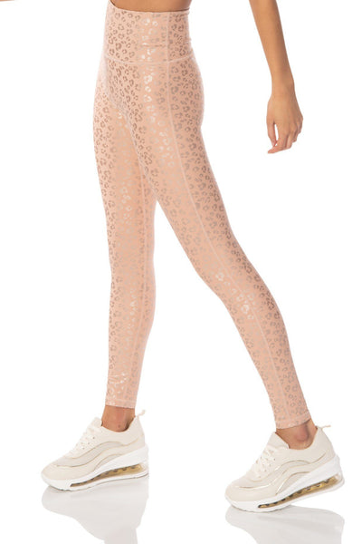 Peach Leopard Leggings - Hypeach Active Bottoms HYPEACH