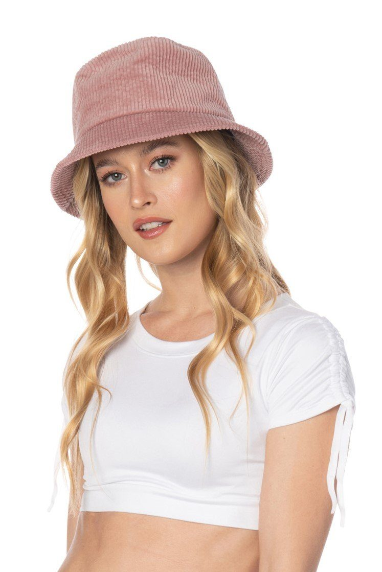 Pink Corduroy Bucket Hat Accessories HYPEACH