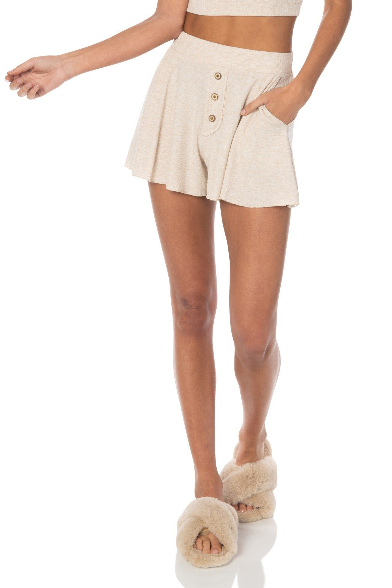 PJs All Day Highwaist Shorts Beige Bottoms HYPEACH