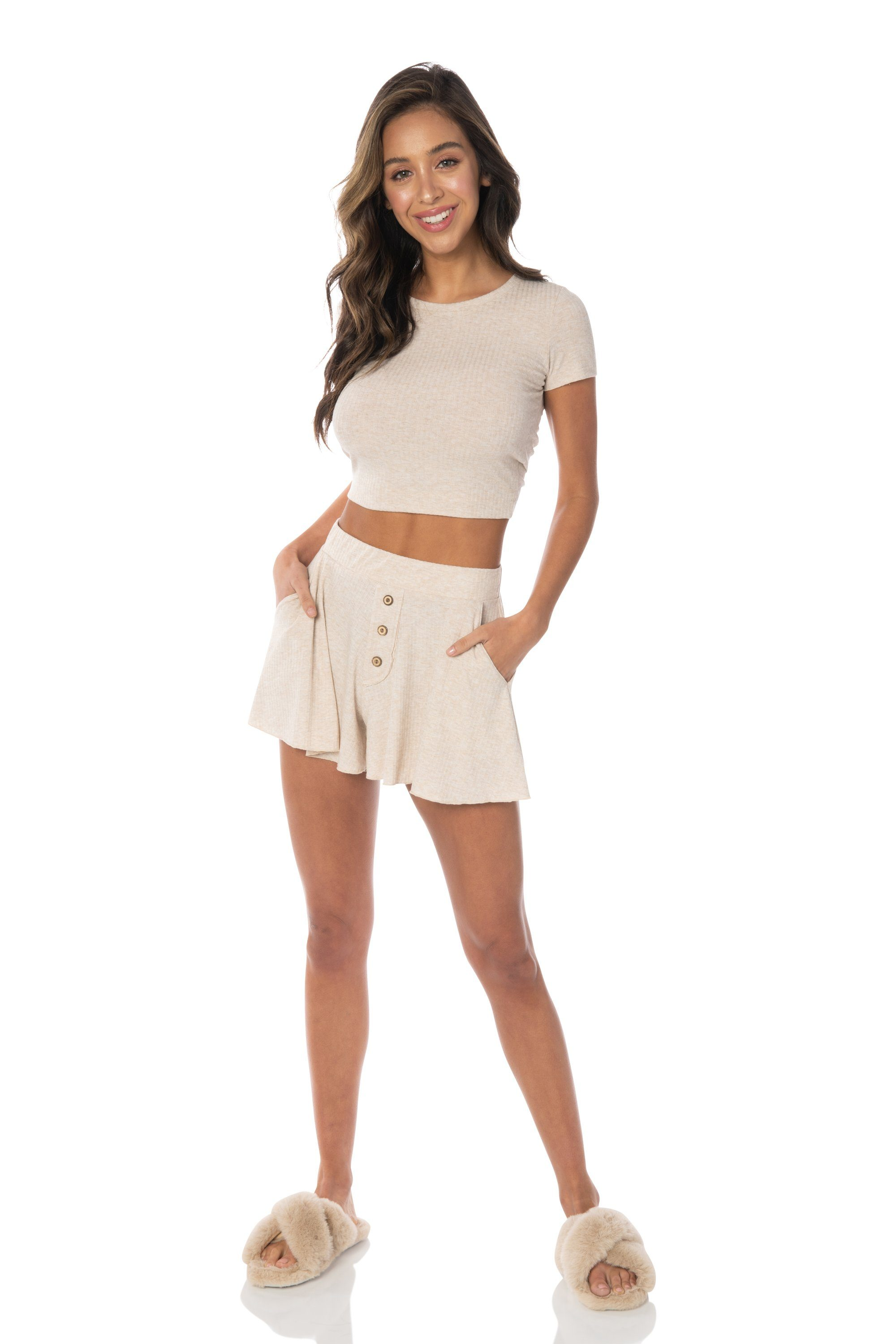 PJs All Day Open Back Crop Top Beige Tops HYPEACH