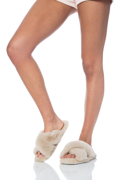 Plush Furry Criss Cross Slippers Beige Shoes HYPEACH