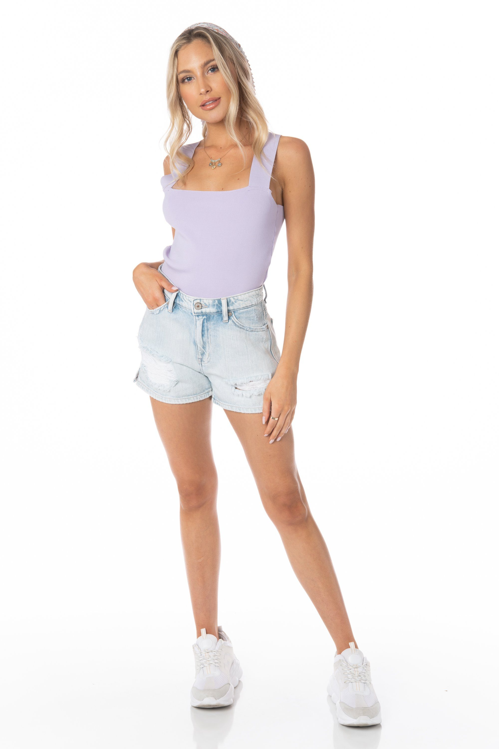 Purple Cropped Tank V Strap Back Tops HYPEACH BOUTIQUE