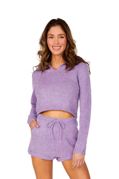 Purple Long Sleeve Cropped Hoodie Sets HYPEACH BOUTIQUE