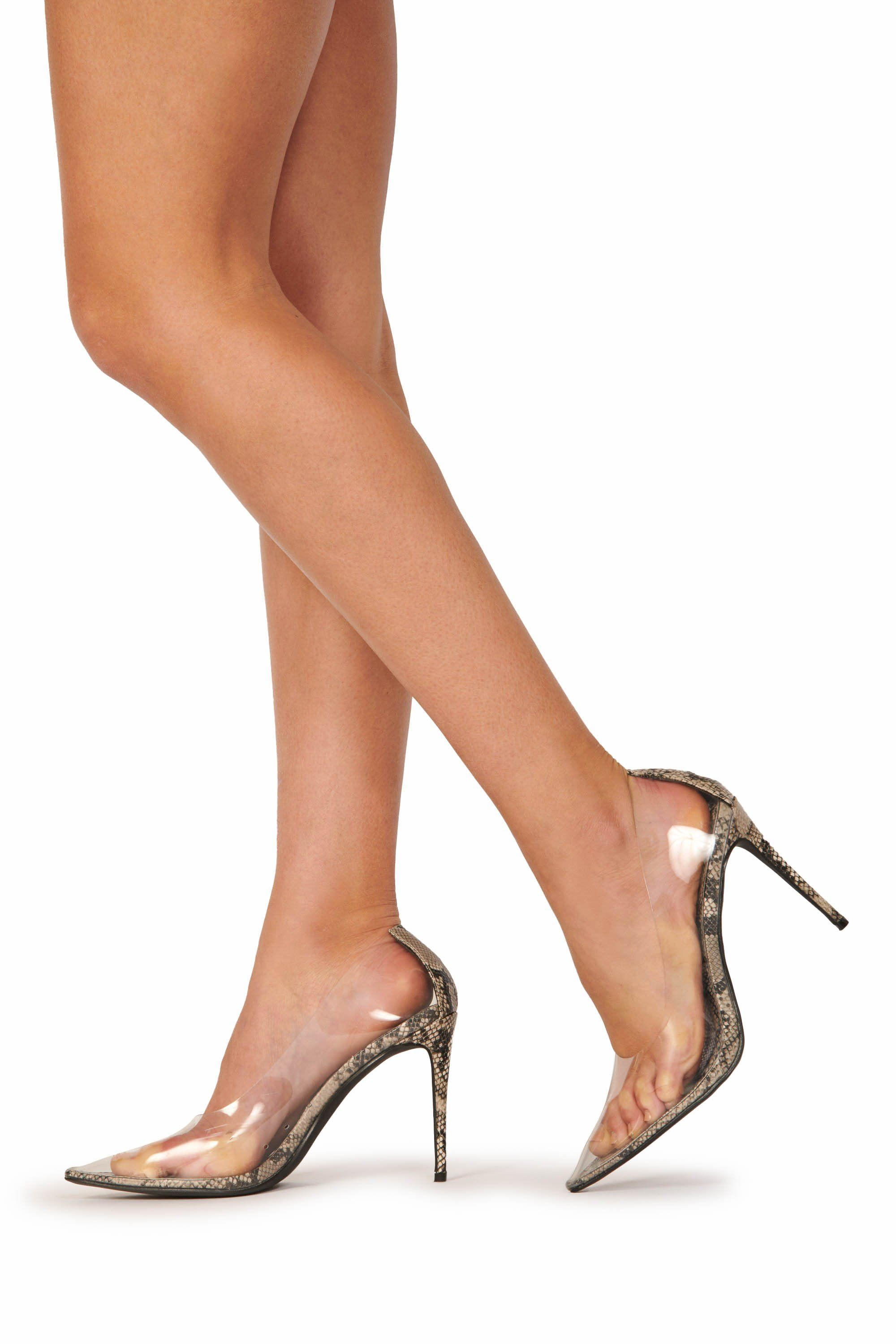 PVC Snakeskin Sole Pointed Toe Pump Clear Shoes HYPEACH BOUTIQUE